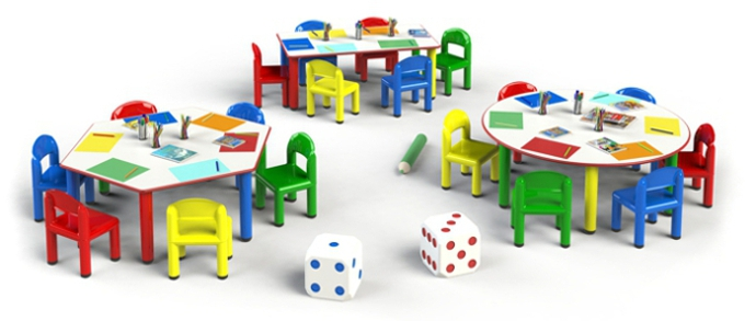 Metal   Arcobaleno Line Tables And Chairs For Nurseries, Nursery Schools,  Preschools, Baby Parking, Play Areas